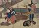 Nakamura Matsue (carrying child) as Osono with Nakamura Utaemon as Keyamura Rokusuke